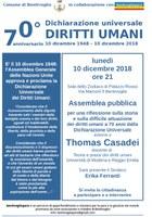 10/12/2018 Bentivoglio - 70° anniversario della Dichiarazione Universale dei Diritti Umani. Assemblea pubblica