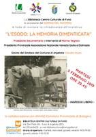 05/02/2019 Argelato - Esodo (La memoria negata e L'Italia dimenticata). Film documentario. Giorno del Ricordo - evento rinviato al 5 marzo