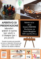 12/10/2019 Castel Maggiore - Laboratori gratuiti di cucina (per adulti) e di disegno (per i più piccoli). Aperitivo di presentazione