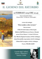 """21/02/2019 Bentivoglio - """"Dove andare, dove tornare"""". Letture in occasione del Giorno del Ricordo"""