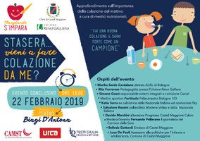 """22/02/2019 Castel Maggiore - Stasera vieni a fare colazione da me? Evento conclusivo di """"Mangiando s'impara"""""""