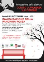25/11/2019 Galliera. Inaugurazione della Panchina rossa. Giornata internazionale per l'eliminazione della violenza contro le donne