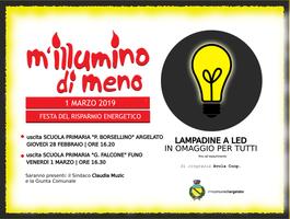 28/02-01/03/2019 Argelato - Lampadine a led in omaggio per tutti. M'illumino di meno 2019