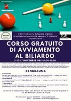 3-10-17/11/2019 Castello d'Argile - Corso gratuito di avviamento al biliardo