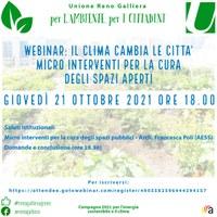 21/10/2021 ONLINE. Il clima cambia le città - Micro interventi per la cura degli spazi aperti. Webinar dello Sportello energia