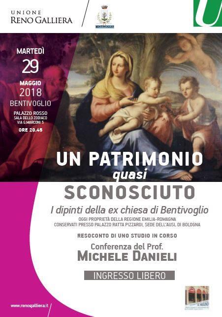 Locandina della conferenza sui quadri dell'ex chiesa di Bentivoglio