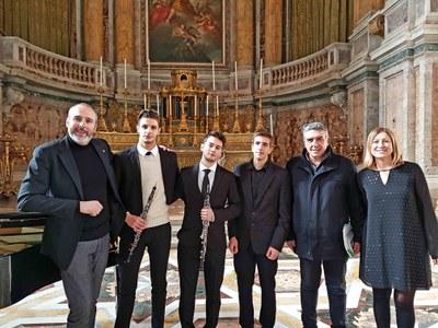 Il trio con Cremonini, Gottardi e il funzionario della Reggia Leonardo Ancona