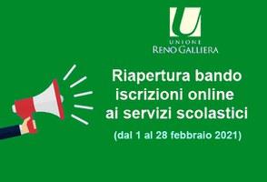 Riapertura del bando per le iscrizioni on line ai servizi scolastici (dal 1 al 28 febbraio 2021)